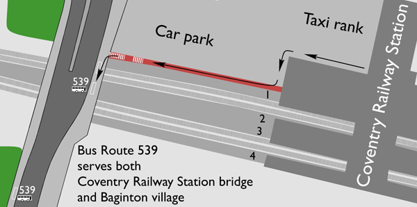 Coventry Railway Station Bridge bus stop map